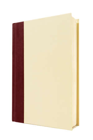hardback: Cream and maroon hardback book standing upright isolated on a white background.  Space for copy.