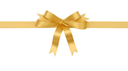 Gold gift ribbon and bow isolated on white background 스톡 콘텐츠