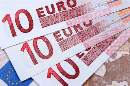 overlapped: Detail of several euro 10 notes