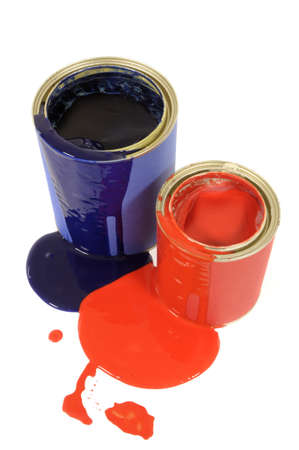 dripping paint: Two messy dripping paint cans isolated on a white background.