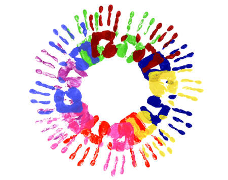 handprints: Circle pattern of child handprints made from vivid acrylic paint isolated on a white paper background.