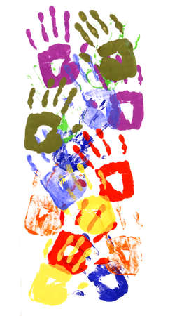 Vertical border pattern of child handprints made from vivid acrylic paint isolated on a white paper background. 스톡 콘텐츠