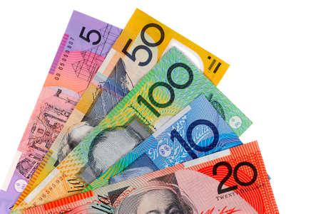 australian money: Australian dollar bills isolated on white Stock Photo