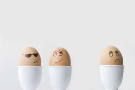 jilted: Eggs in a Love Triangle.  Two in love, one dejected.