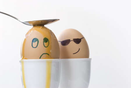 Sad egg finally gets his dues from gangster egg photo
