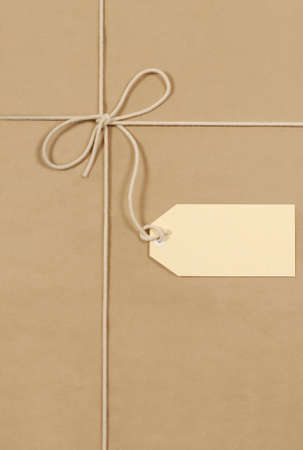 shipped: Brown paper parcel background with string and label
