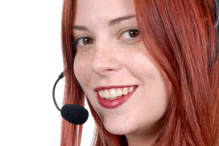 telephone headset: Call center woman with telephone headset
