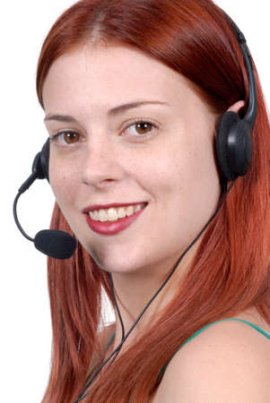 Call center woman with telephone headset