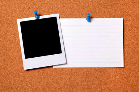 index card: Blank photo print and office index card pinned to a cork notice board.  Space for copy.  Path provided.