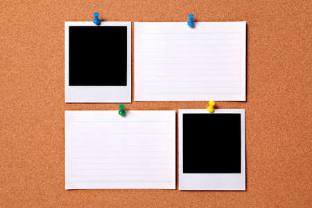 Blank photo prints and office index cards pinned to a cork notice board.  Space for copy.  Paths provided. photo