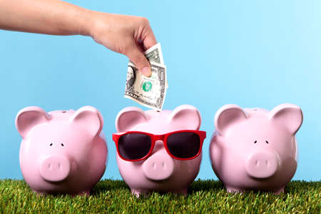 us money: Female hand putting a one dollar bill into a pink piggy bank wearing sunglasses Stock Photo