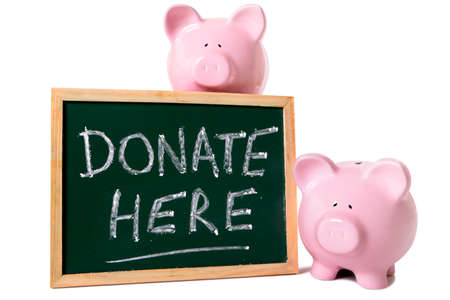 charity collection: Two pink piggy banks grouped around a blackboard with charity donation message. Isolated on white.