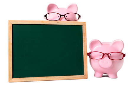 Two pink piggy banks with glasses and blank blackboard. Isolated on white with space for text. photo