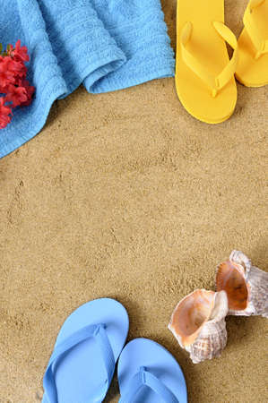 flip flop: Beach background with towel, flowers and flip flops