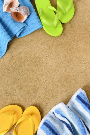 flip flops: Beach background with towel and flip flops