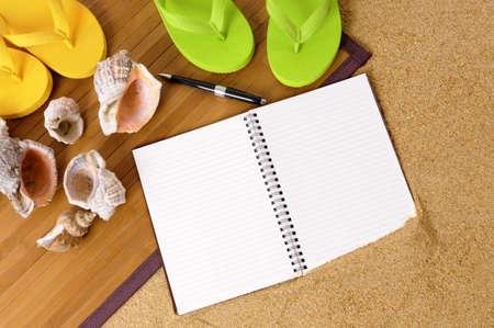flip flops: Beach background with bamboo mat, flip flops and blank notebook