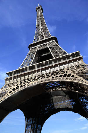 dramatically: Dramatically angled high resolution picture of the Eiffel Tower in Paris.