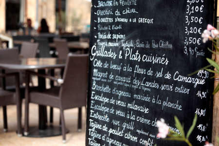 Restaurant in Paris with menu. Banco de Imagens