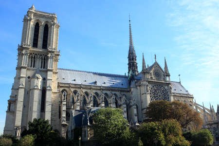 bathed: Side view of the famous Notre Dame cathedral in Paris bathed in directional morning light. Stock Photo