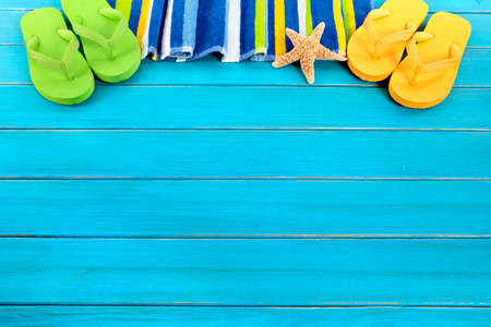 decking: Summer beach background border blue decking copy space