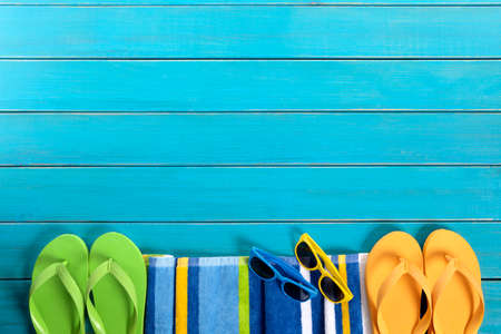 Summer beach background border blue decking copy space Banco de Imagens - 39559725
