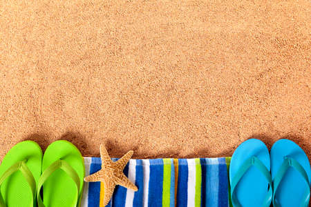 flip flops on the beach: Summer beach border background Stock Photo
