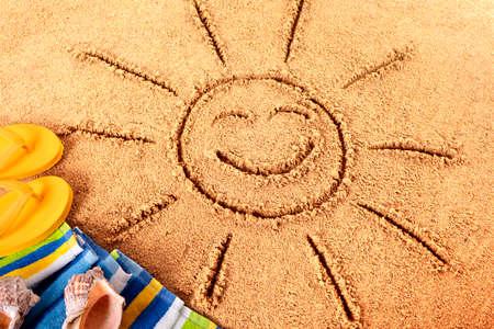 soleil rigolo: Summer fun plage de soleil Banque d'images