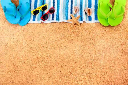 Summer beach background border copy space