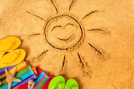 Summer beach smiling face sun 스톡 콘텐츠