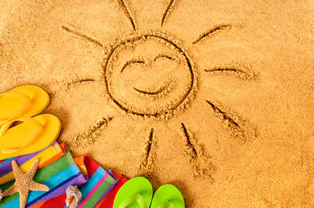 Summer beach smiling face sun Banque d'images