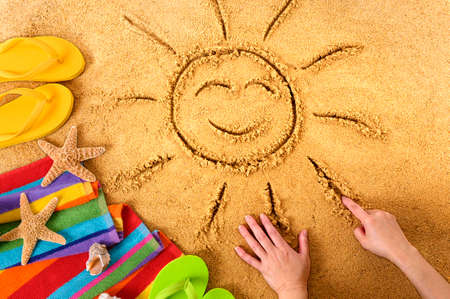 Summer beach smiling face sun Standard-Bild