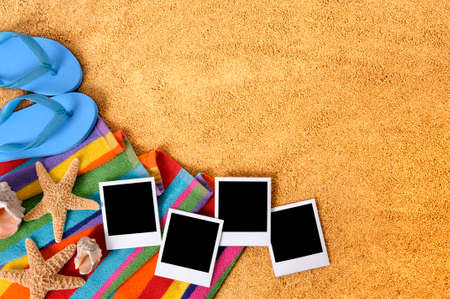 Beach with blank photo prints Stock Photo