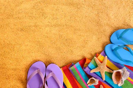 beach towel: Summer beach background copy space Stock Photo