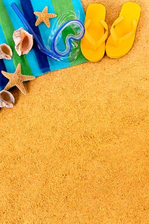flip flops: Caribbean summer beach background border flip flops copy space vertical