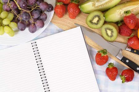 Summer fruit salad, cookbook, copy space photo