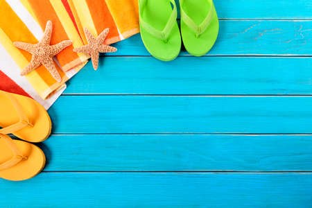 flops: Beach background, starfish, flip flops, copy space Stock Photo
