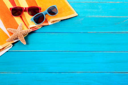 tropical border: Tropical beach background, sunglasses, copy space Stock Photo