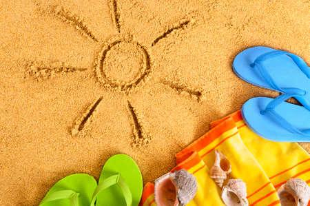 flip flops: Summer beach sun sand drawing, flip flops