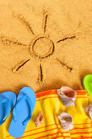 sand drawing: Summer beach holiday sun sand drawing