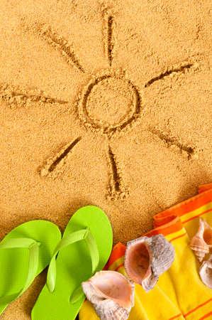 beach holiday: Summer sun beach holiday, flip flops