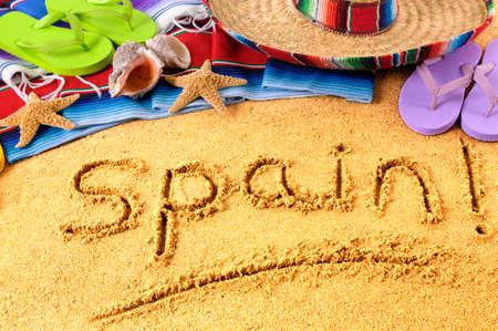 summer beach: Spainish beach summer vacation Stock Photo