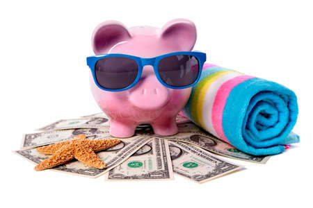 Voyage d'argent de vacances à la plage de tirelire rose