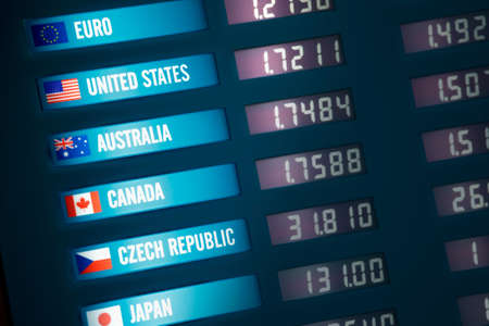 Illuminated currency exchange board showing exchange rates for various countries and currencies.