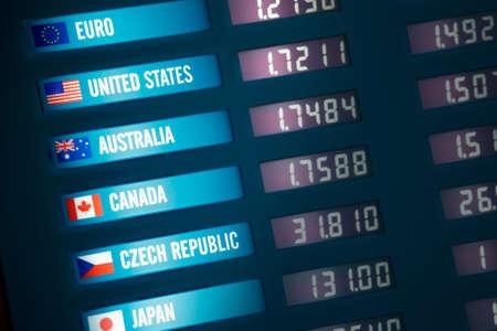 Verlichte wisselkantoor bord met wisselkoersen voor verschillende landen en valuta's.