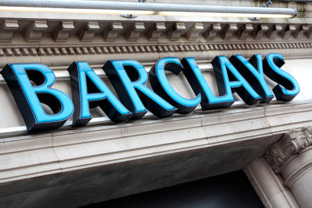 Sign above the entrance to a branch of Barclays Bank in Knightsbridge London. Stock Photo