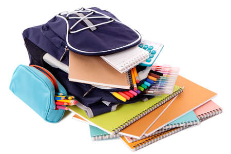 School bag with books and equipment