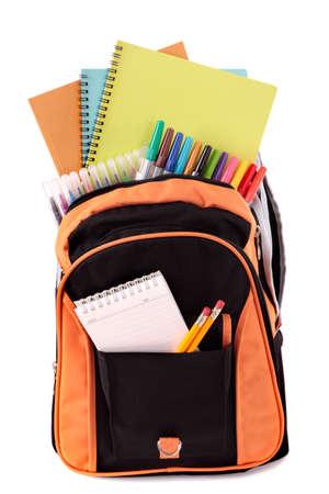 sac d ecole: Sac de l'�cole avec des fournitures scolaires Banque d'images