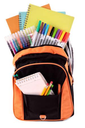 utiles escolares: Bolso de escuela con el estudiante fuentes