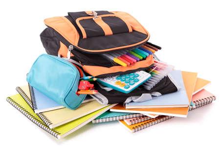 school bag: Borsa di scuola con libri e attrezzature Archivio Fotografico