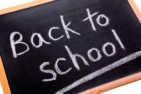 untidy: Blackboard with untidy back to school message.